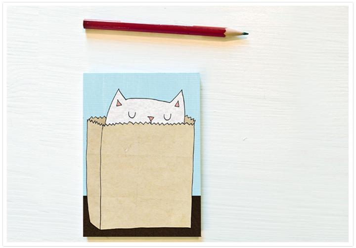 Katzen Einkaufs Erinnerungsblock