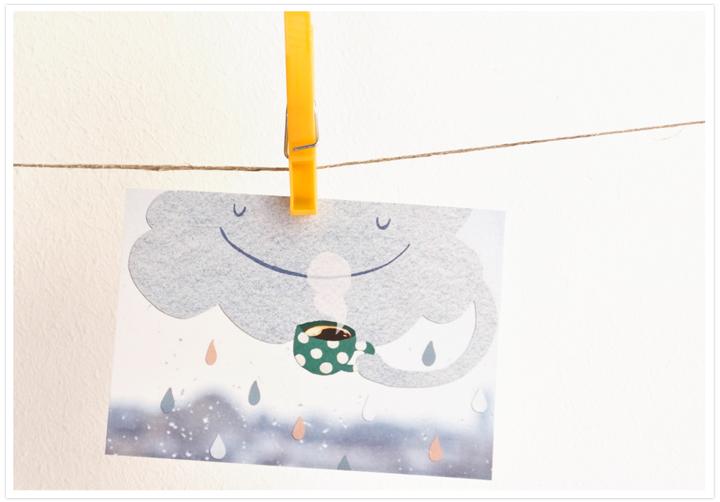 Postkarte-Tee-mit-Wolke-mit-Rand