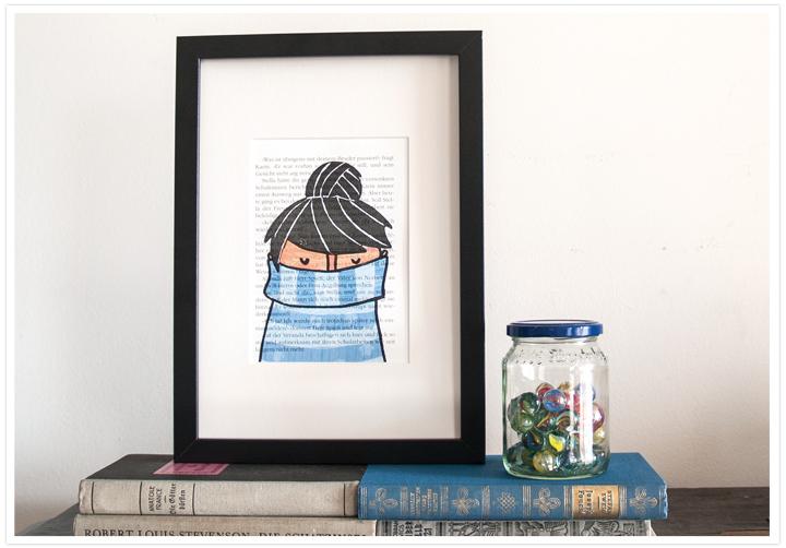 Buchgrafiken Mädchen in Blau