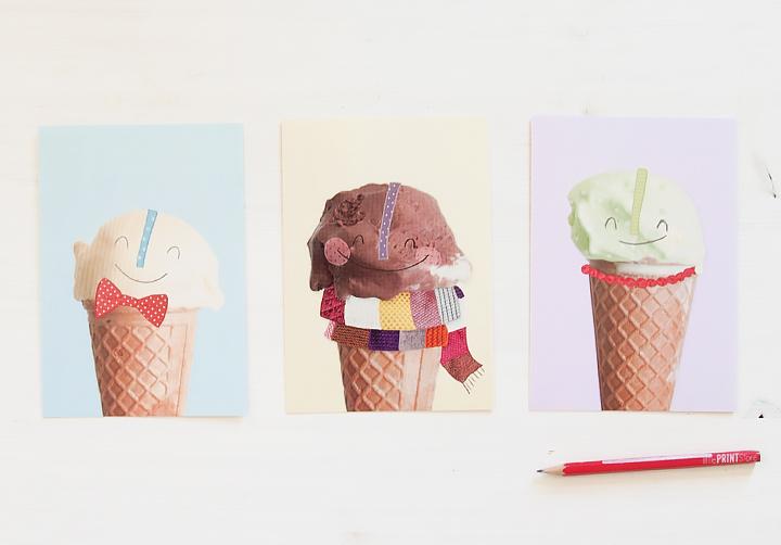 illustration-sommer-karte-eis-schokolade-vanille-pistazie