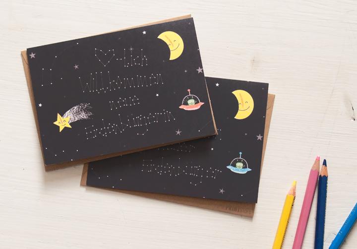 illustration-weltall-alien-grußkarte-babykarte-erdenbürger