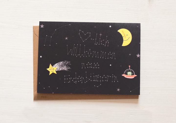 illustration-weltall-alien-grußkarte-babykarte
