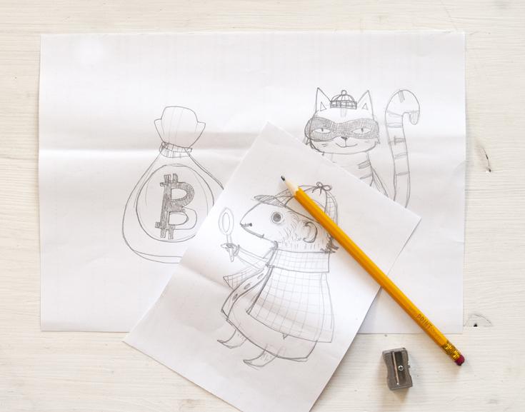 schaufenster-papier-dekoration-gestaltung-krimi-skizze